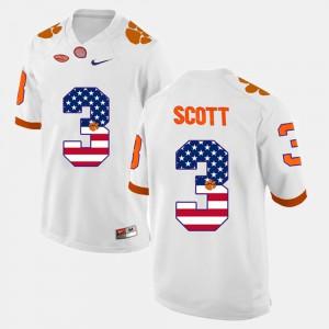 For Men US Flag Fashion #3 White Artavis Scott Clemson Jersey 148725-543