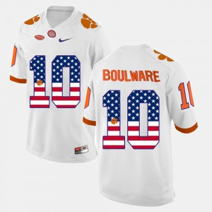 White Men's US Flag Fashion #10 Ben Boulware Clemson Jersey 858839-847
