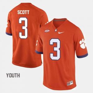 College Football #3 Orange Artavis Scott Clemson Jersey Youth(Kids) 834607-163