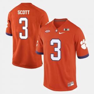 Mens College Football Artavis Scott Clemson Jersey Orange #3 431247-268