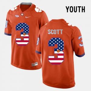 Artavis Scott Clemson Jersey #3 Orange Youth US Flag Fashion 684241-161