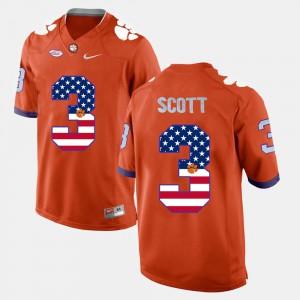 #3 Artavis Scott Clemson Jersey For Men's US Flag Fashion Orange 761415-347