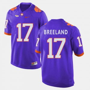 For Men's #17 College Football Bashaud Breeland Clemson Jersey Purple 811696-362
