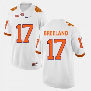 White Bashaud Breeland Clemson Jersey For Men's #17 College Football 534052-606
