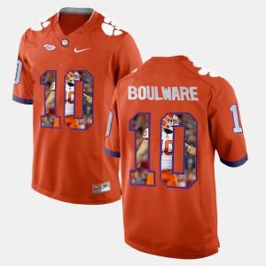 Ben Boulware Clemson Jersey Orange #10 For Men's Player Pictorial 532161-664