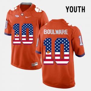 For Kids #10 Ben Boulware Clemson Jersey US Flag Fashion Orange 918488-975