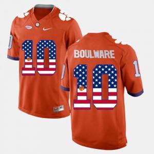 #10 Orange Men's US Flag Fashion Ben Boulware Clemson Jersey 351619-791