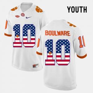 White #10 For Kids US Flag Fashion Ben Boulware Clemson Jersey 220351-616