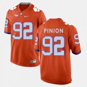 College Football Orange For Men's #92 Bradley Pinion Clemson Jersey 834724-364