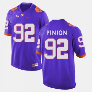 College Football #92 Bradley Pinion Clemson Jersey Purple For Men's 913242-712