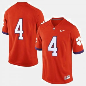 College Football Men's Orange Clemson Jersey #4 220407-822