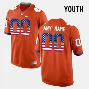 Clemson Customized Jersey Kids US Flag Fashion Orange #00 458120-929