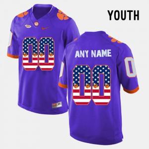 US Flag Fashion Clemson Custom Jersey #00 Purple Youth(Kids) 799784-578