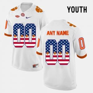 US Flag Fashion White Clemson Custom Jersey #00 Kids 615359-542
