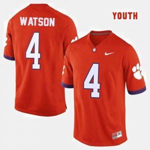 #4 Orange Youth(Kids) Deshaun Watson Clemson Jersey College Football 133691-489