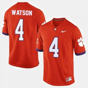 Mens #4 College Football Deshaun Watson Clemson Jersey Orange 681264-658