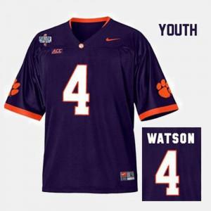 #4 Purple College Football Youth Deshaun Watson Clemson Jersey 433227-576
