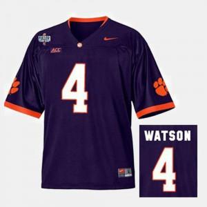 Mens #4 College Football Purple Deshaun Watson Clemson Jersey 730398-855