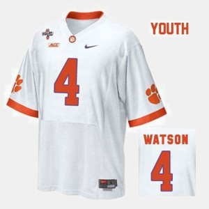 College Football #4 Deshaun Watson Clemson Jersey For Kids White 489159-995