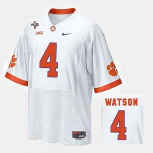 White #4 College Football Mens Deshaun Watson Clemson Jersey 735338-443