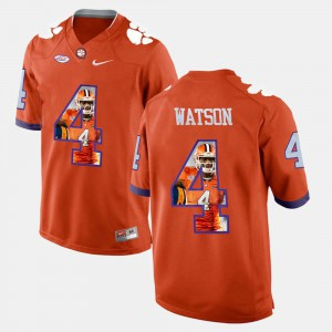 For Men's #4 Pictorial Fashion DeShaun Watson Clemson Jersey Orange 533484-632