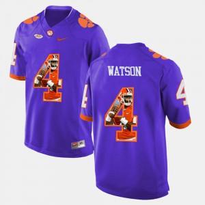 #4 Men's Pictorial Fashion Purple DeShaun Watson Clemson Jersey 143893-692