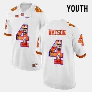 DeShaun Watson Clemson Jersey Pictorial Fashion White #4 Kids 228097-497