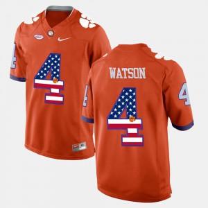 DeShaun Watson Clemson Jersey #4 US Flag Fashion Orange Men's 252388-329