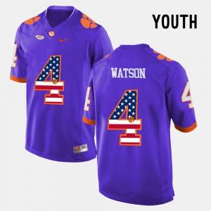DeShaun Watson Clemson Jersey #4 US Flag Fashion Purple Kids 223142-333