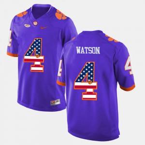Mens DeShaun Watson Clemson Jersey US Flag Fashion #4 Purple 251387-674