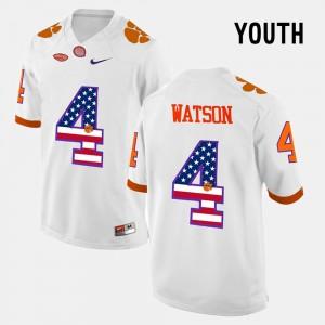 For Kids White #4 DeShaun Watson Clemson Jersey US Flag Fashion 545538-614