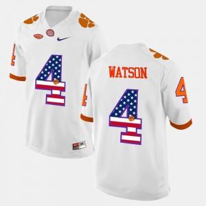 US Flag Fashion For Men's White DeShaun Watson Clemson Jersey #4 614518-624