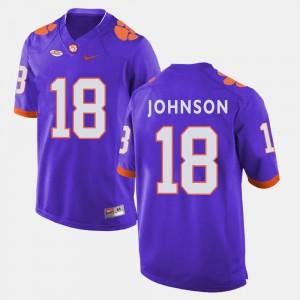 Jadar Johnson Clemson Jersey #18 College Football Men's Purple 729312-883