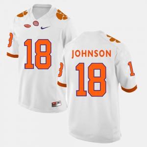 College Football For Men's Jadar Johnson Clemson Jersey #18 White 720179-650