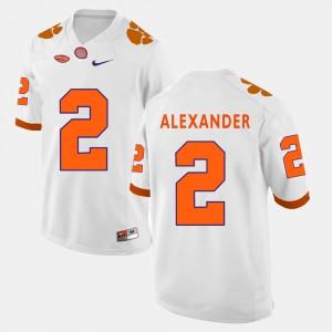 College Football White For Men Mackensie Alexander Clemson Jersey #2 641531-346