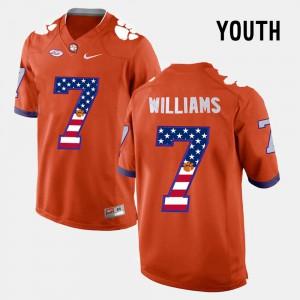 Youth(Kids) #7 Mike Williams Clemson Jersey Orange US Flag Fashion 354505-404