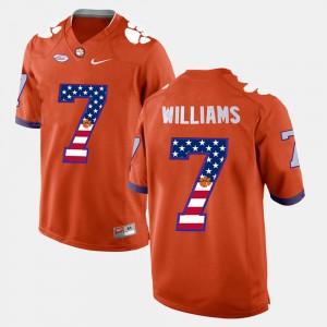 Orange For Men #7 US Flag Fashion Mike Williams Clemson Jersey 751085-312