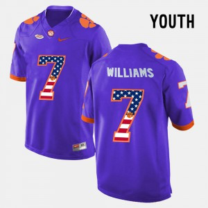 For Kids US Flag Fashion #7 Mike Williams Clemson Jersey Purple 158489-332
