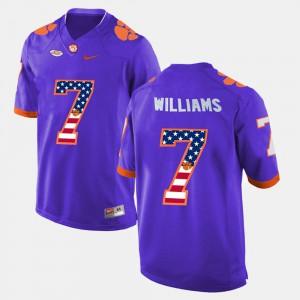 Purple Men's US Flag Fashion #7 Mike Williams Clemson Jersey 993015-409