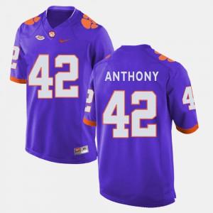 Purple Mens #42 Stephone Anthony Clemson Jersey College Football 339509-922