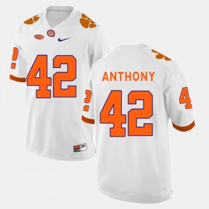 Stephone Anthony Clemson Jersey White #42 College Football Mens 164903-820
