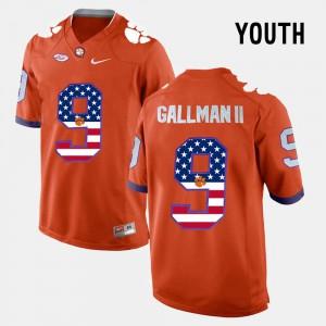 #9 Orange US Flag Fashion Youth(Kids) Wayne Gallman II Clemson Jersey 511714-855