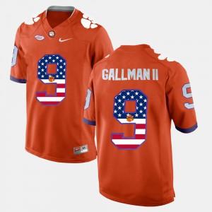 For Men Orange US Flag Fashion #9 Wayne Gallman II Clemson Jersey 275466-516