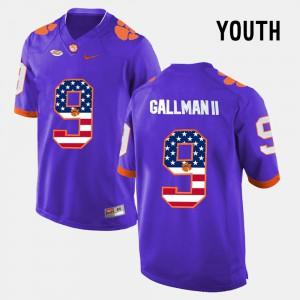 #9 US Flag Fashion Youth(Kids) Wayne Gallman II Clemson Jersey Purple 233038-468