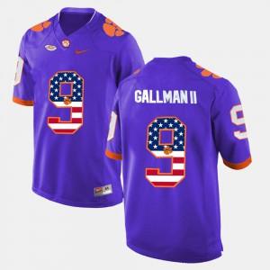 #9 Mens Wayne Gallman II Clemson Jersey Purple US Flag Fashion 955724-673