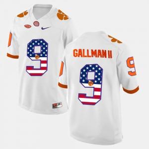 #9 White Wayne Gallman II Clemson Jersey Men US Flag Fashion 899837-499
