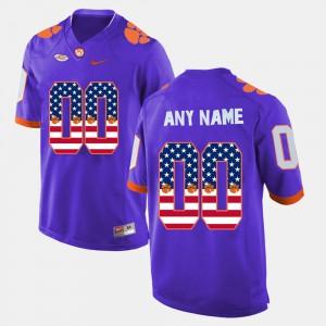 US Flag Fashion #00 For Men Clemson Custom Jersey Purple 867396-147