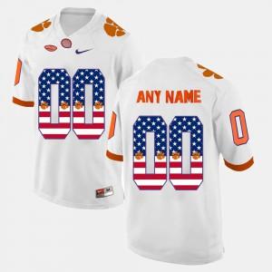 Clemson Customized Jerseys #00 White Men's US Flag Fashion 176195-354