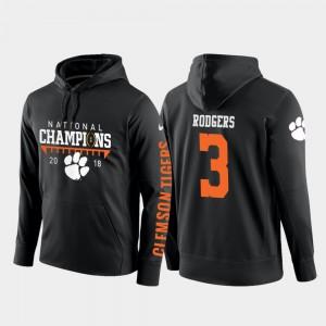 College Football Pullover 2018 National Champions Men #3 Amari Rodgers Clemson Hoodie Black 280981-270
