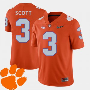 Artavis Scott Clemson Jersey #3 Orange College Football Men 2018 ACC 354854-621